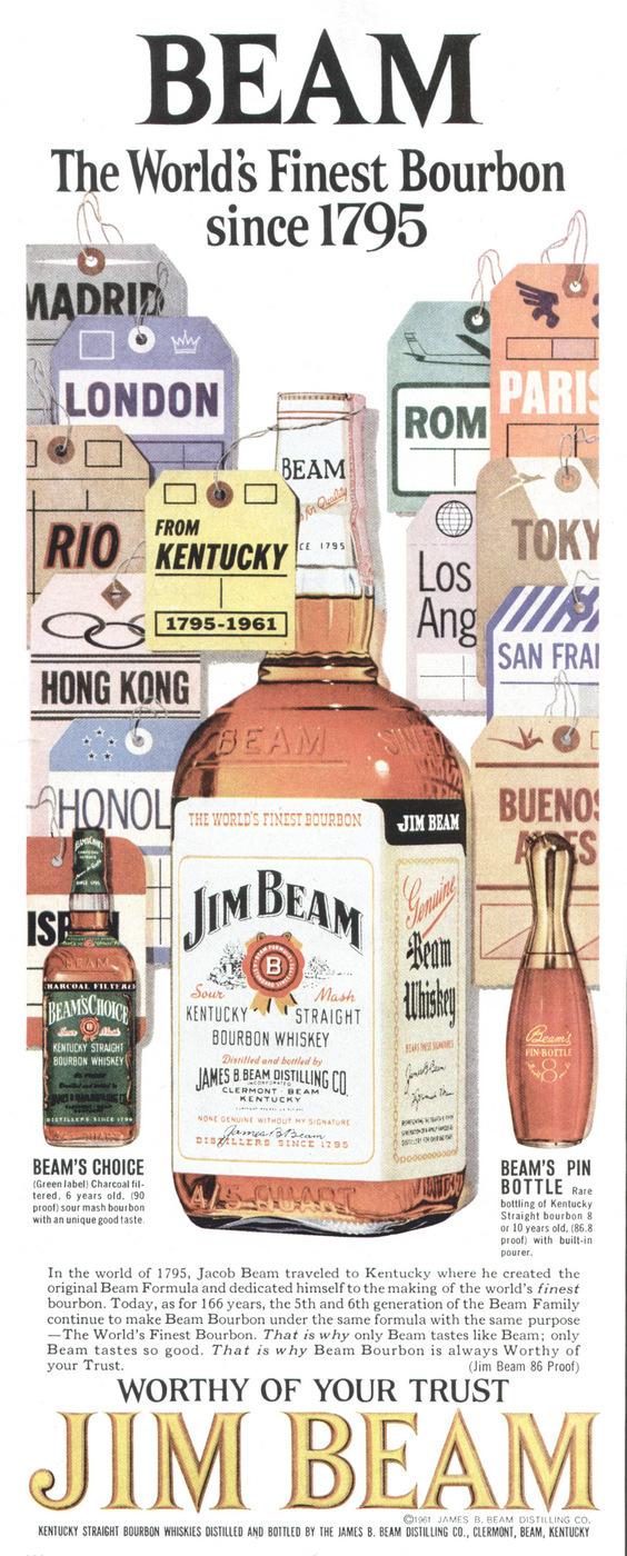 Jim Beam Kentucky Bourbon Whiskey 1961